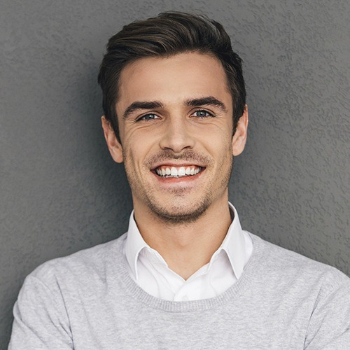 Man with healthy flawless smile