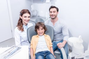 young family at dentist